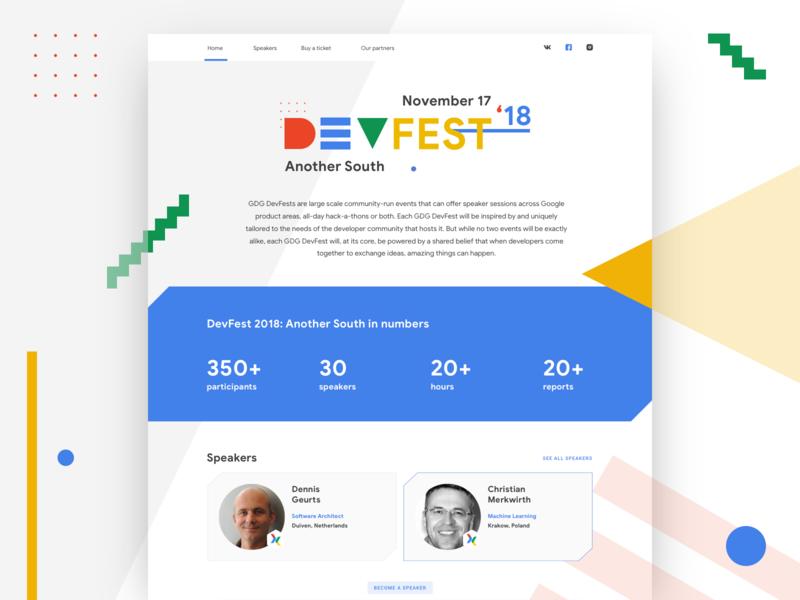 GDG Devfest landing page event website event google devfest gdg white bright colours bright ui uxdesign ux  ui ux webdesign website web