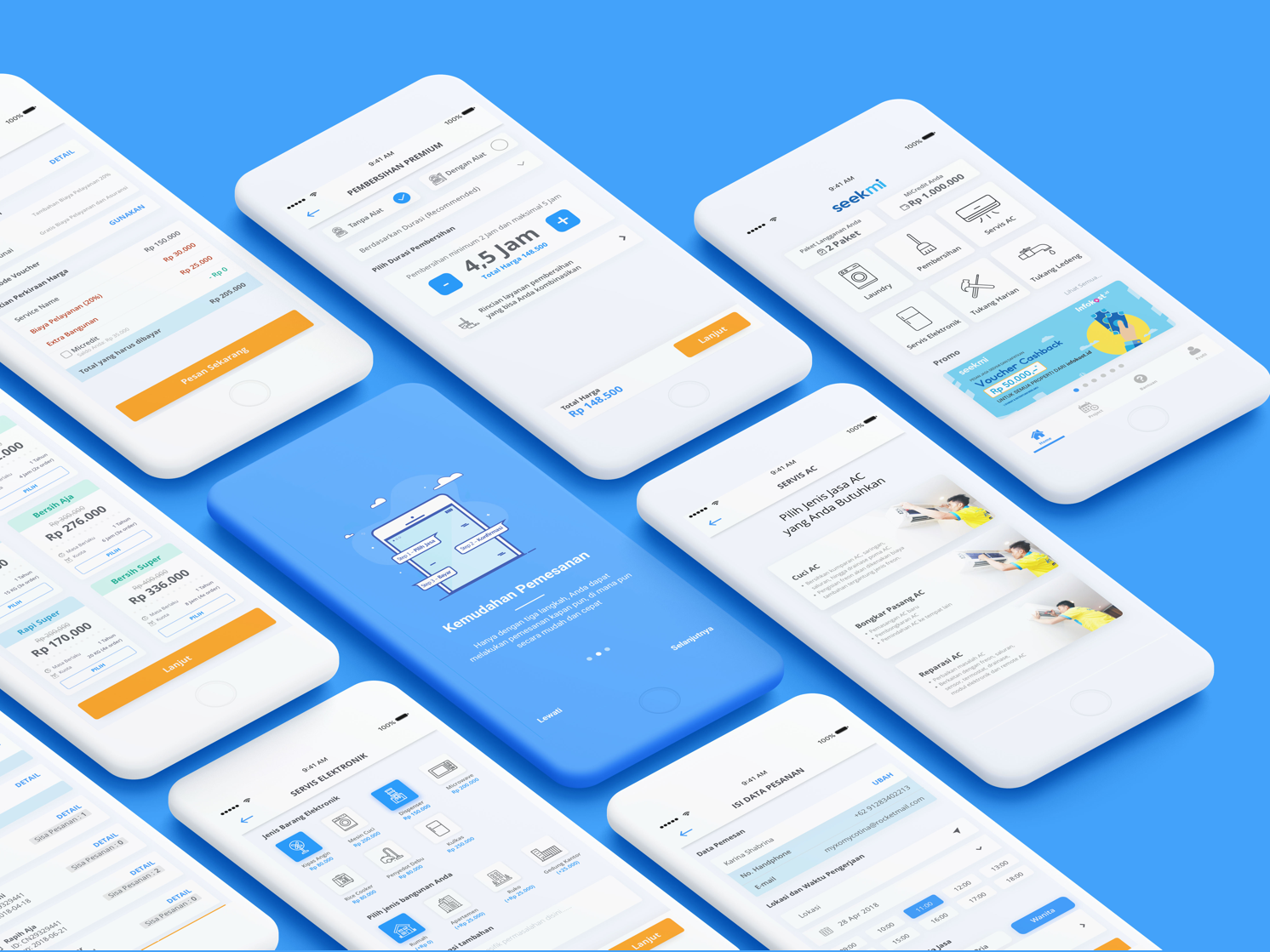 UI/UX Case Study : Home Service App productdesign blue cardlist list subsribe jasa onboarding walkthrough order booking payment casestudy uxcase portfolio mobileapp service home