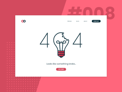 Daily UI #008 / 404 page daily ui 008 008 page not found 404 error 404 light bulb red blue ui daily daily 100 challenge challenge daily ui illustration design