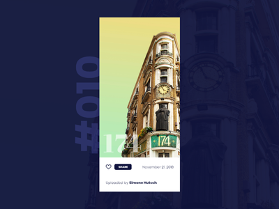 Daily UI #010 / Social Share 010 daily ui 010 london 174 iphone x app serif architechture daily 100 challenge vector illustrator typography daily ui challenge blue daily ui illustration design