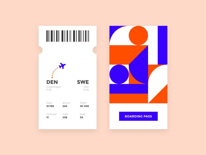 Daily UI #024 / Boarding pass airport boardingpass boarding adobe xd branding orange ux app vector illustrator daily blue 024 daily 100 challenge ui typography challenge daily ui illustration design