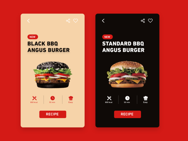 Daily UI #040 / Recipe web iphone branding colors adobe xd app ux daily black red daily 100 challenge burger recipe illustrator typography challenge ui daily ui illustration design