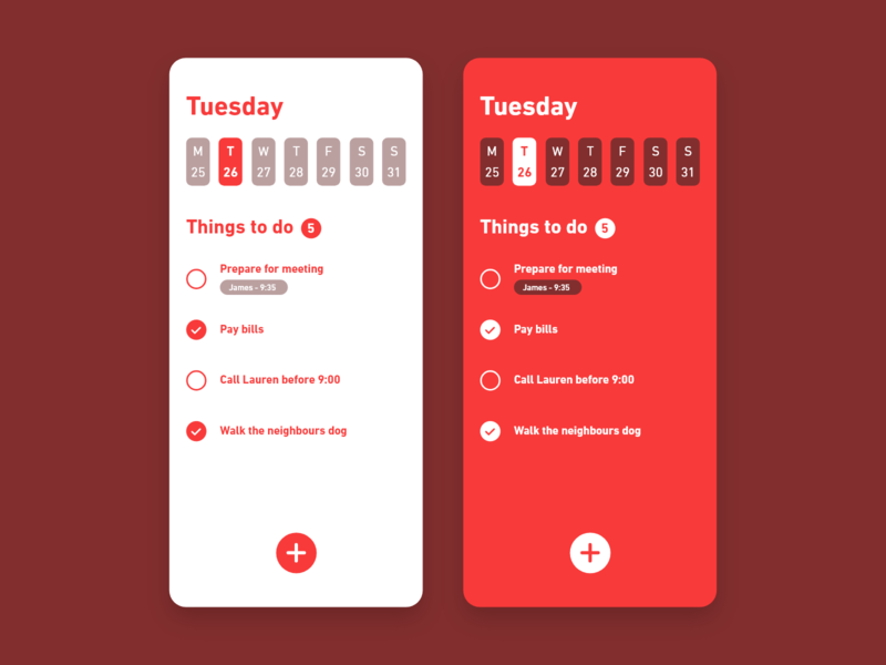 Daily UI #042 / Todo List todo list todo flat iphone red branding colors adobe xd app ux vector daily daily 100 challenge illustrator typography challenge ui daily ui illustration design