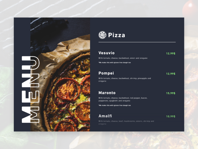 Daily UI #043 / Food/Drink menu green icon web colors adobe xd app vector ux pizza menu food  drink daily blue daily 100 challenge illustrator typography challenge ui daily ui illustration design