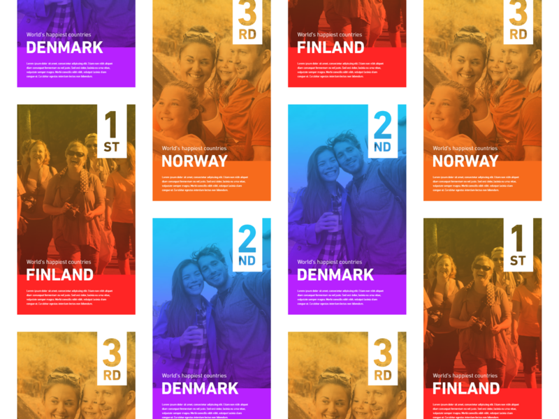 Daily UI #045 / Info Card purple red daily 100 happiest country gradient adobe xd branding colors blue daily 100 challenge illustrator typography ux challenge ui daily ui illustration daily ui 045 045 design