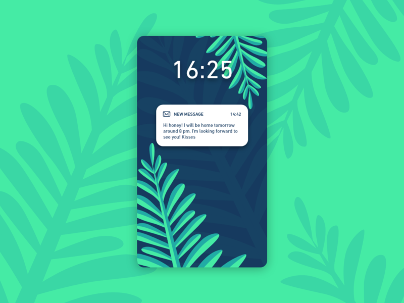 Daily UI #049 / Notifications iphone branding app colors adobe xd vector ux daily green blue daily 100 challenge typography challenge daily ui ui illustrator leaf notifications illustration design