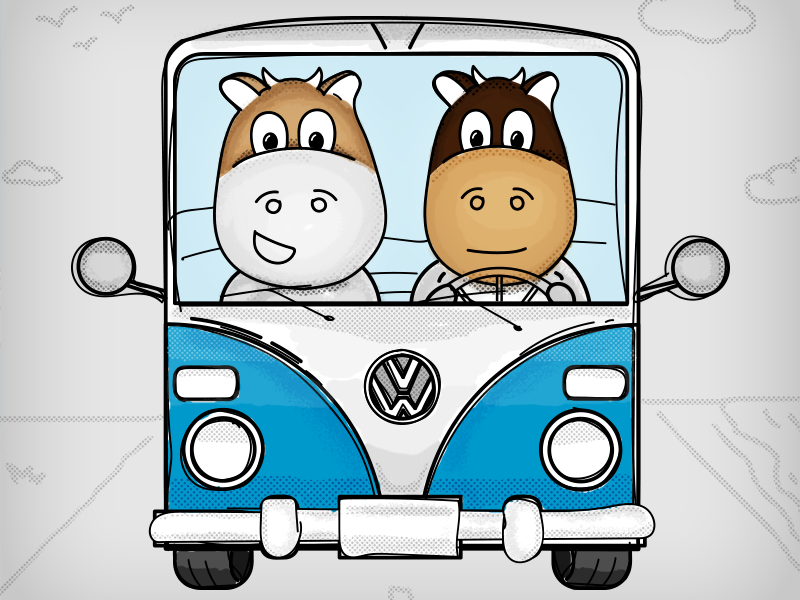 Masters milk sticker #2 Cows in the classic kombi cows bus illustration stickers character handdrawn