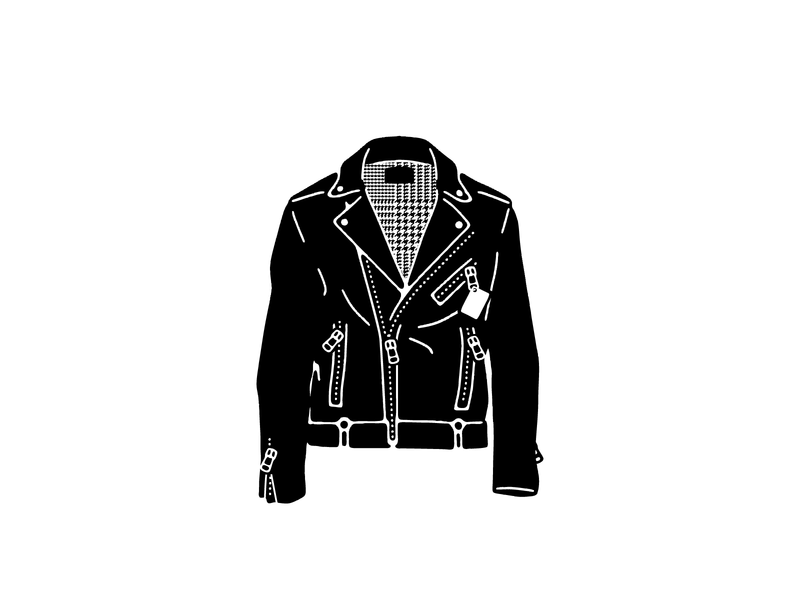Biker Jacket vector branding design line art drawing illustration