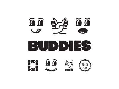 Buds branding logo design line art drawing logo type typography lettering illustration