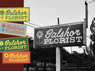 Florist Sign vintage sign branding line art drawing logo type typography lettering illustration