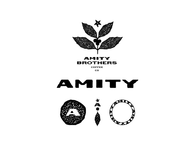 Amity Brand Artwork branding badge design logo design line art icon drawing hand lettering type logo typography lettering illustration