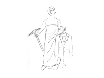 WIP - Tailors Statue lady justice greek statue drawing line art illustration