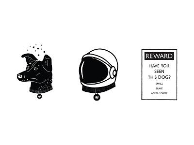 Lost in Space (Dog) branding logo design line art drawing logo type typography lettering illustration