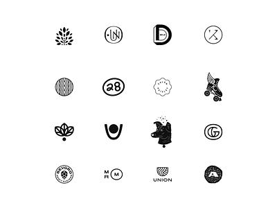 Logo Icons branding logo design icon line art drawing logo type typography lettering illustration