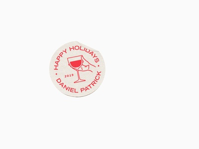 Happy Holidays badge holiday icon line art logo type typography illustration