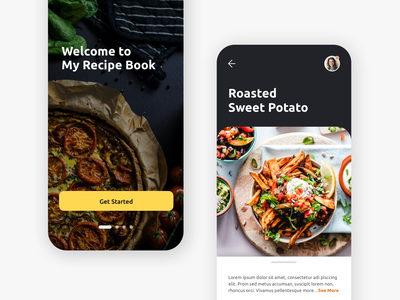 Recipe Book App recipe app food app recipe book recipe food ux design ui design phone app mobile application mobile app application app food photography photography ux ui minimalist minimal