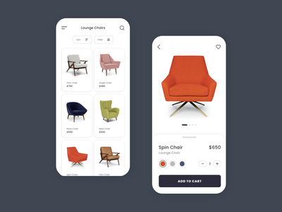 Furniture App shopping shop ecommerce app ecommerce furniture store furniture chairs ui design ux design mobile app app minimal minimalist ux ui buyer buy furniture app iphone android