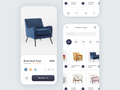 Ecommerce Furniture App minimal app design ecommerce app design shopping shop buy minimal furniture app mobile app furniture app furniture ecommerce app ecommerce ux design ui design ux app ui minimal minimalist