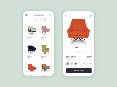 Ecommerce App - Furniture furniture app ecommerce app shopping app shop online furniture ecommerce furniture store chairs furniture buy shop ecommerce ui design ux design mobile app ux app ui minimal minimalist