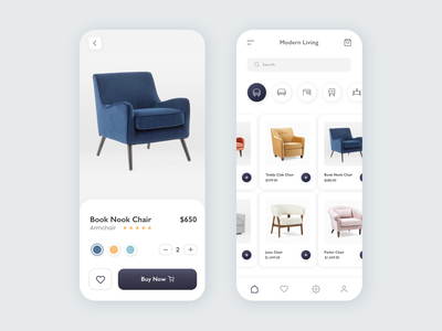 Ecommerce Furniture App furniture store chairs shopping app shop shopping ecommerce app furniture app furniture buy ecommerce ui design ux design mobile app ux app ui vector minimal minimalist