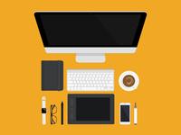 Desk Scene Vector Illustration