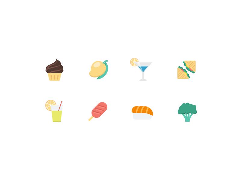 TouchBistro Food Icons vector illustration colorful icons food icons food and beverage food and drink food vector icons ux ui illustration icons minimalist minimal vector
