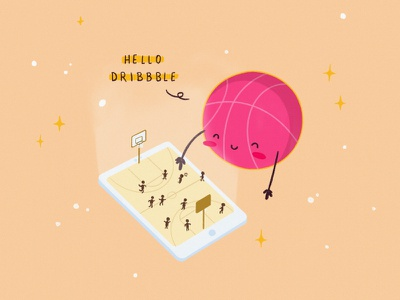 Hello Dribbble! ux ui cute drawing hello dribbble illustration