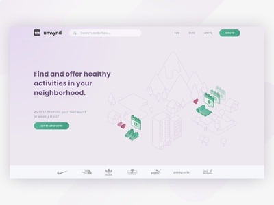 Healthy activities landing page landing page illustration landing page design landing page vector isometric illustration isometric design isometric branding web ux ui design drawing ux illustration design ui