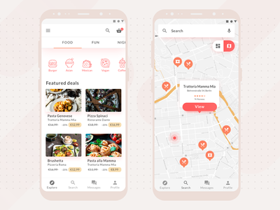 Restaurant and activity booking app map material design local business local ecommerce shopping menu food restaurant app cart checkout activity booking restaurant illustration app ux ui design ux design ui