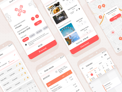 Restaurant and activity booking app material design shopping restaurant app restaurant menu local business local food ecommerce checkout cart booking activity vector app ux ui design ux illustration design ui