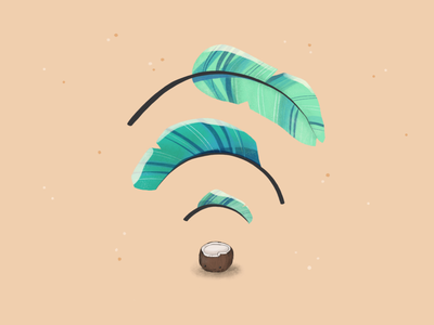 Coconut WiFi illustration wifi print plant illustration plant digital illustration cute plant cute art drawing illustration design ui