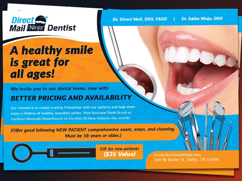Dentist Eddm Postcard  Template typography poster postcards postcard graphic flyer eddm directmail design