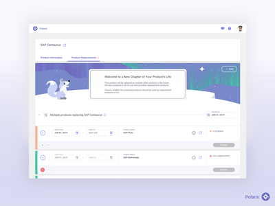 Product Lifecycle UI – Polaris product page business application illustration product maintenance uiux