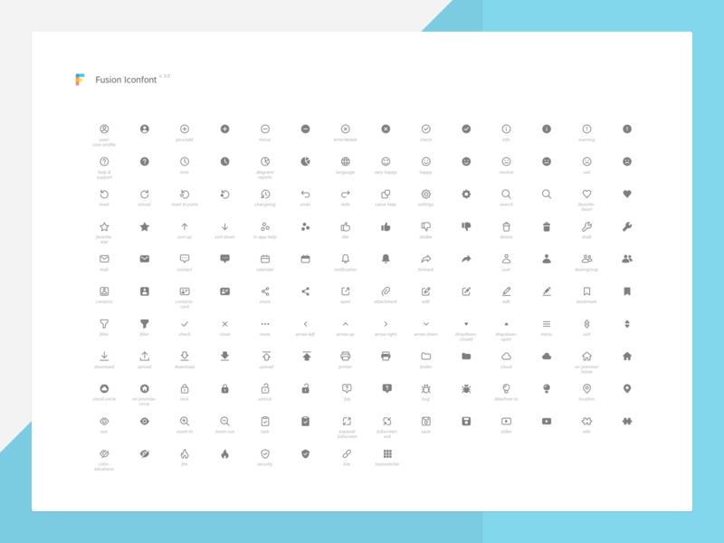Fusion Iconfont design system fusion set branding icon icons icon font