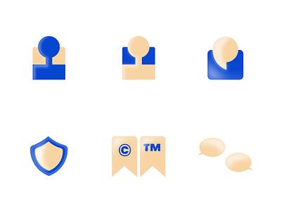 Pseudo 3d Icons branding identity design website flat minimal web app design icon illustration