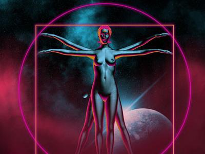 Vitruvian Woman female body geometry vetruvian da vinci leonardo woman 3d