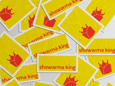 Logo Stickers for Shawarma King yellow illustration vector branding food design identity design king shawarma stickers logo