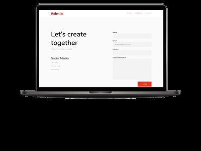 Eximia Contact us page ux. ui website interaction design studio contact