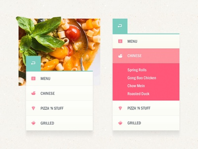 Restaurant Navigation adobe fireworks menu nav navigation interface ui pink cyan restaurant food icons