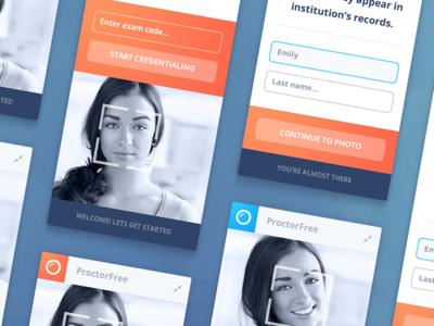 ProctorFree Client App exam adobe fireworks record button interface desktop orange blue osx app video icons