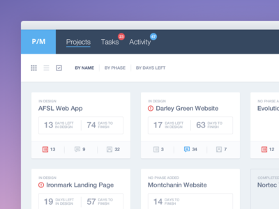 Projects View ui ux menu navigation icons adobe fireworks fireworks app filter tasks projects comments