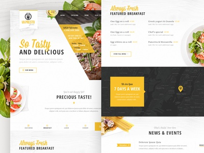 VaPresto Homepage Design Concept adobe fireworks layout tabs home page menu restaurant food plate delicious news header navigation