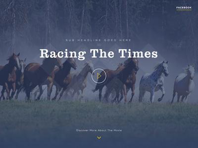 Racing The Times (Header) racing horses landing page video movie play header scroll fullscreen sketchapp sketch