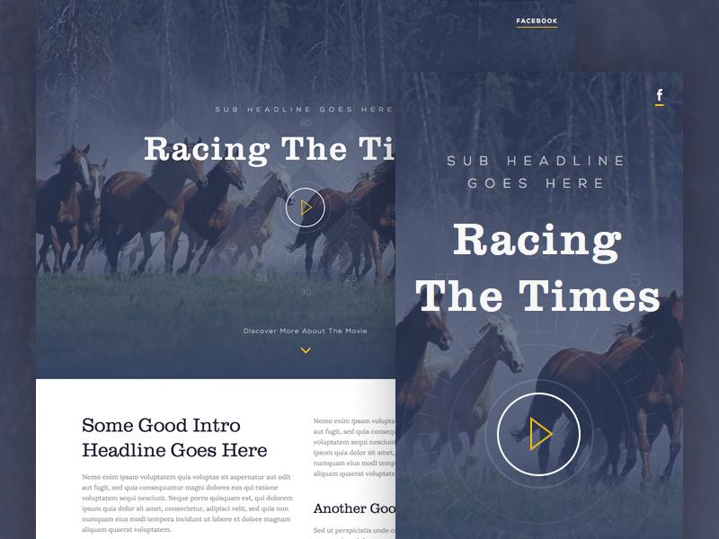 Racing The Times (RWD) racing horses landing page video movie play header scroll fullscreen sketchapp sketch