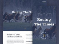 Racing The Times (RWD) racing horses landing page video movie play header scroll fullscreen sketchapp sketch