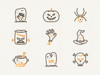 Halloween Icons sketch vector spider skull pumpkin frankenstein scary october illustration icons halloween