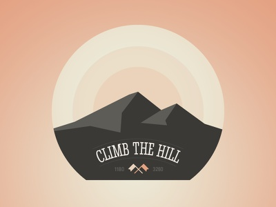 Climb the hill (Badge) icon illustration badge climb hill adobe fireworks fireworks vector