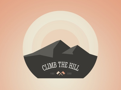 Climb the hill (Badge) icon illustration badge climb hill adobe fireworks fireworks vector