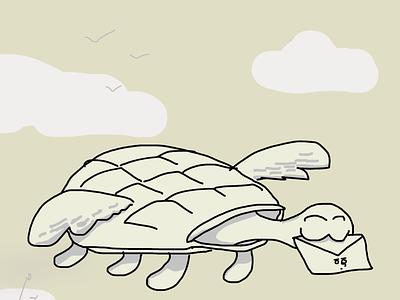 turle mail branding cute illustration