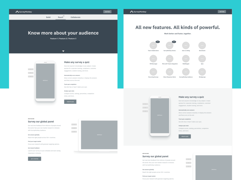 New features exploration high fidelity wireframes ux web wireframe design